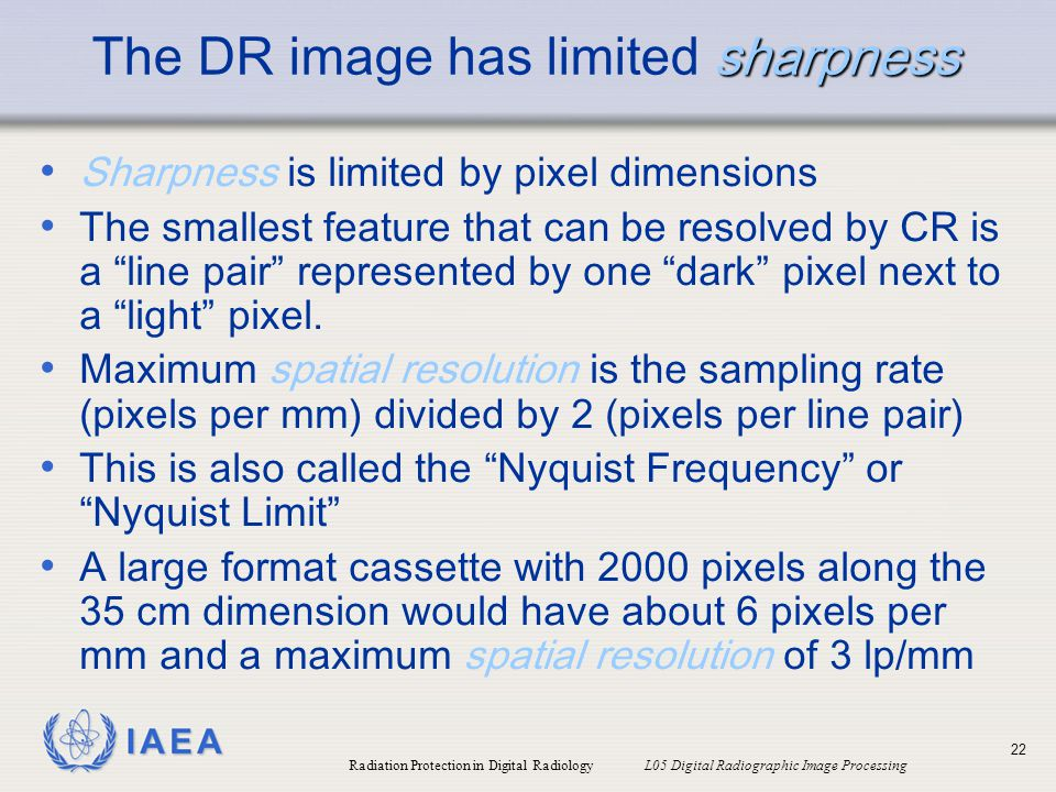 The DR image has limited sharpness