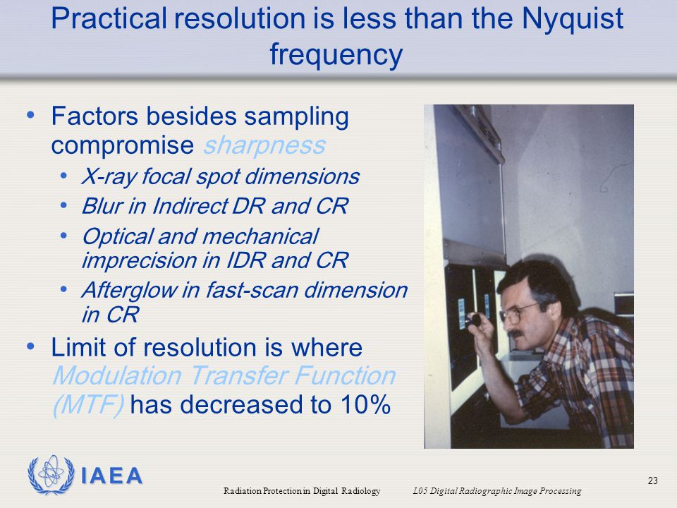 Practical resolution is less than the Nyquist frequency