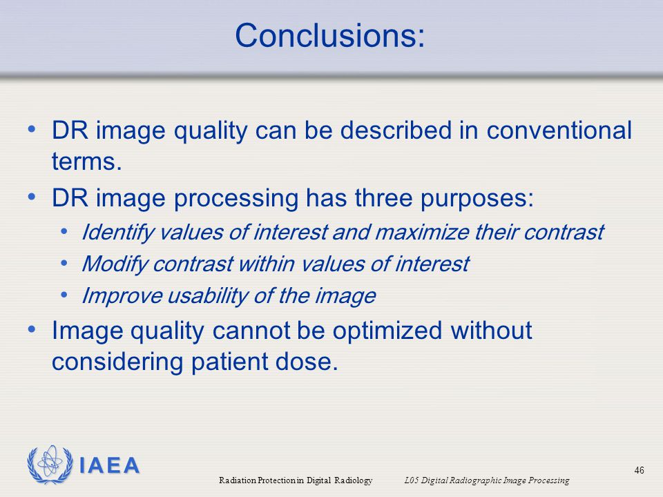 Conclusions: DR image quality can be described in conventional terms.