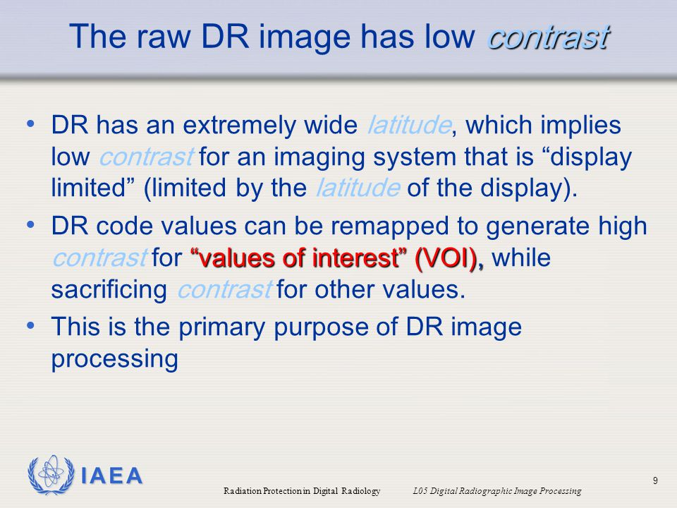 The raw DR image has low contrast
