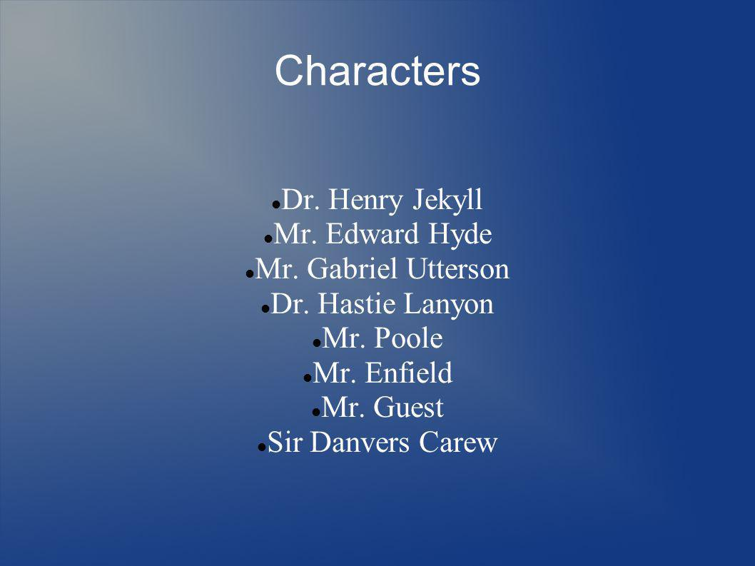 Characters Dr. Henry Jekyll Mr. Edward Hyde Mr. Gabriel Utterson