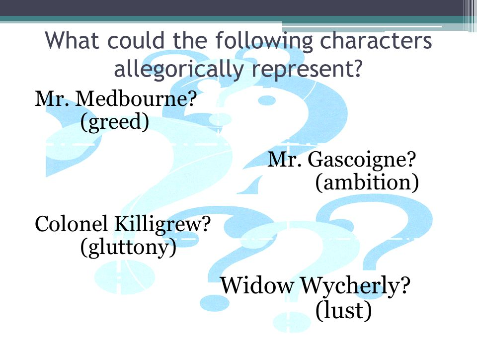 What could the following characters allegorically represent