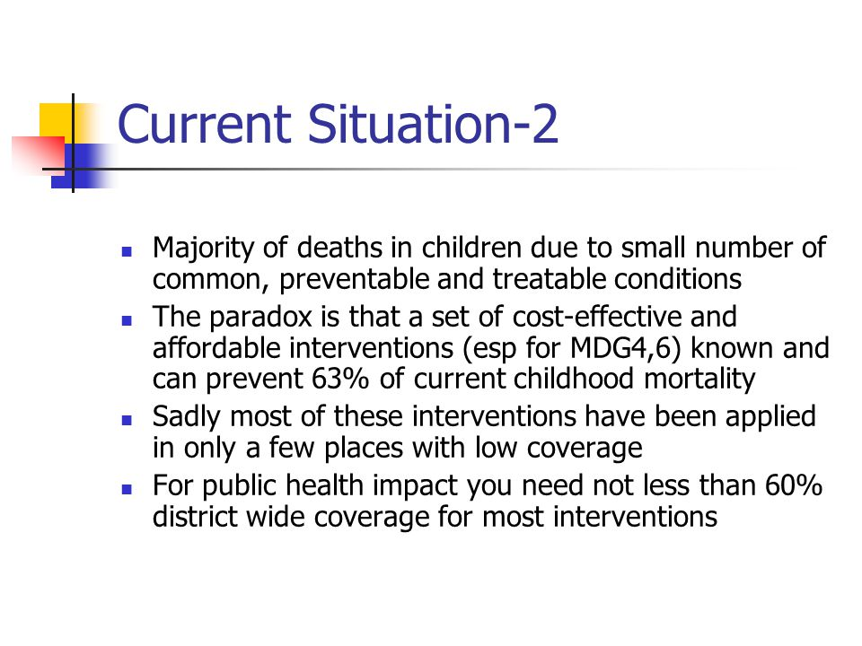 Current Situation-2 Majority of deaths in children due to small number of common, preventable and treatable conditions.