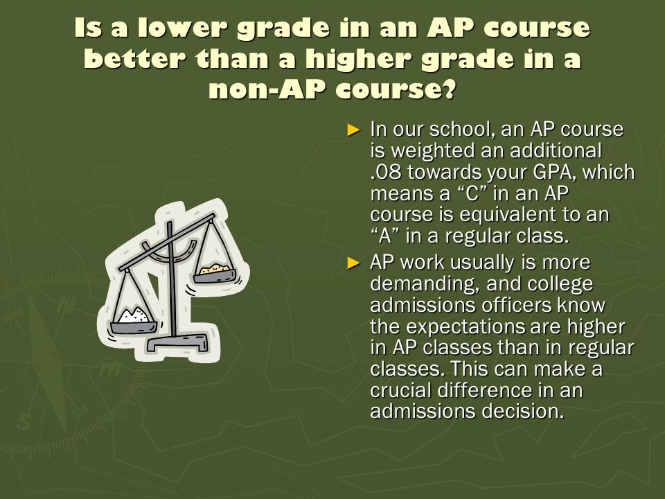 Is a lower grade in an AP course better than a higher grade in a non-AP course