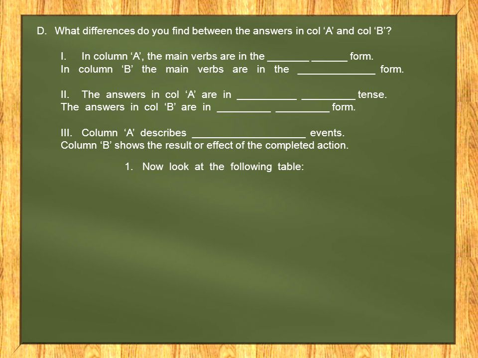 What differences do you find between the answers in col 'A' and col 'B'