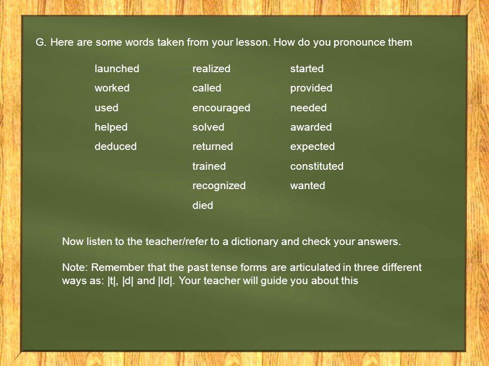 G. Here are some words taken from your lesson