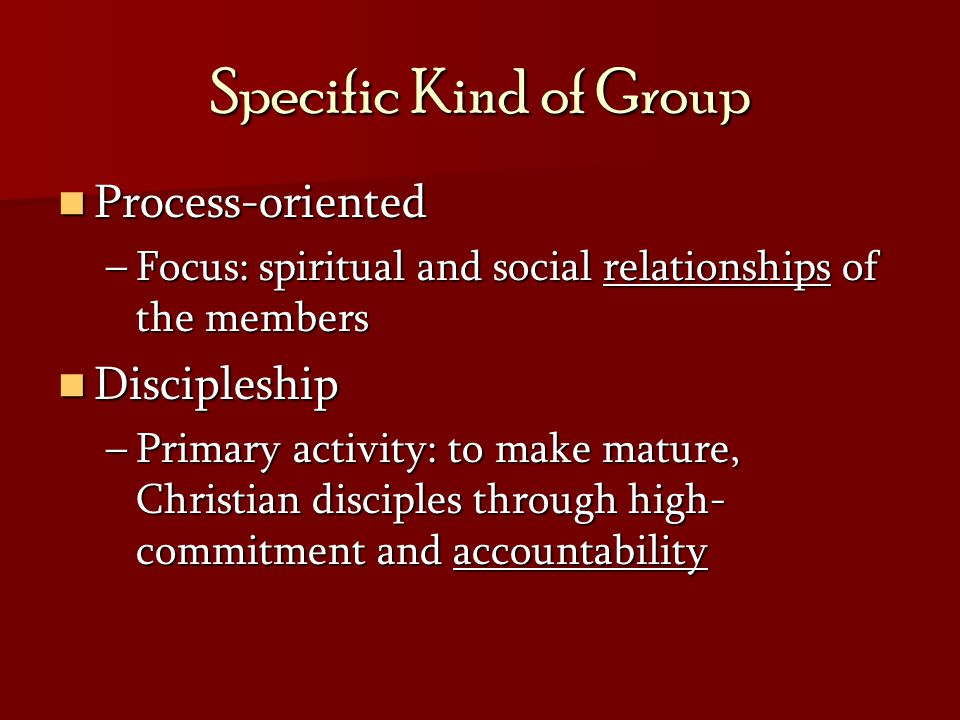 Specific Kind of Group Process-oriented Discipleship