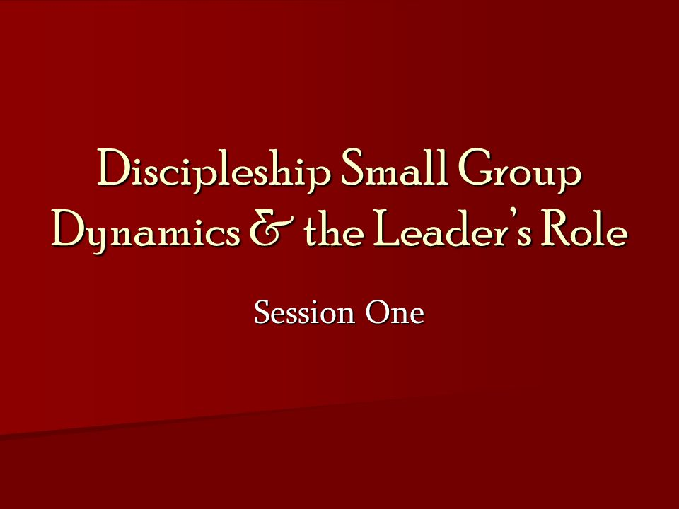 Discipleship Small Group Dynamics & the Leader's Role