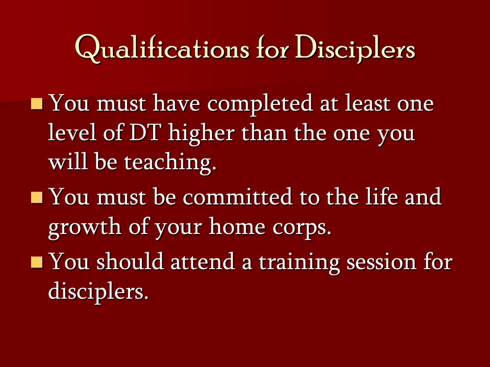 Qualifications for Disciplers