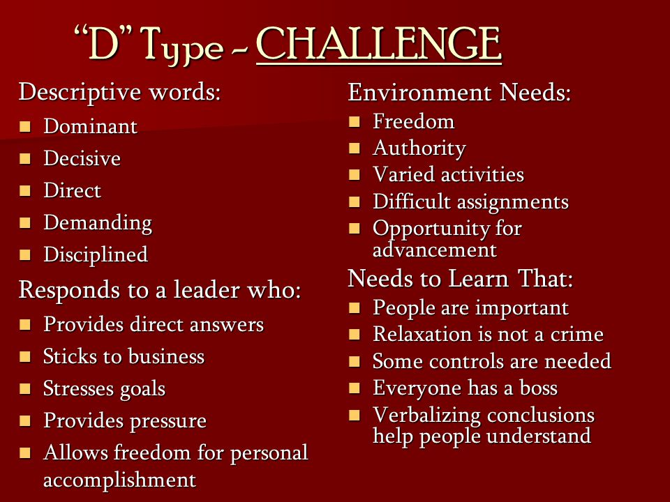 D Type - CHALLENGE Descriptive words: Responds to a leader who: