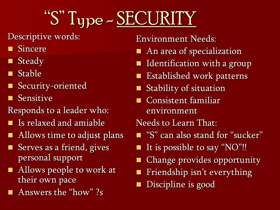 S Type - SECURITY Descriptive words: Environment Needs: Sincere