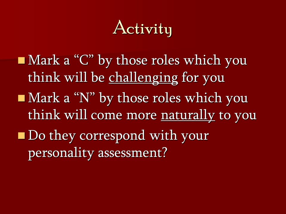 Activity Mark a C by those roles which you think will be challenging for you.