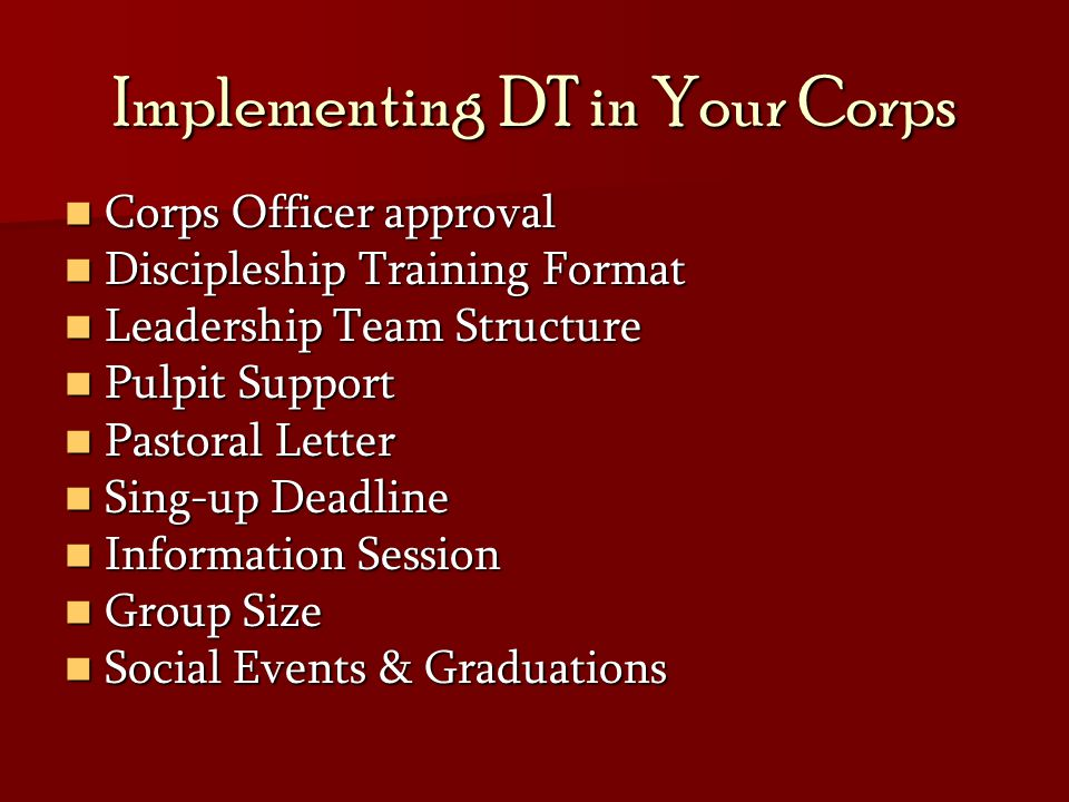 Implementing DT in Your Corps