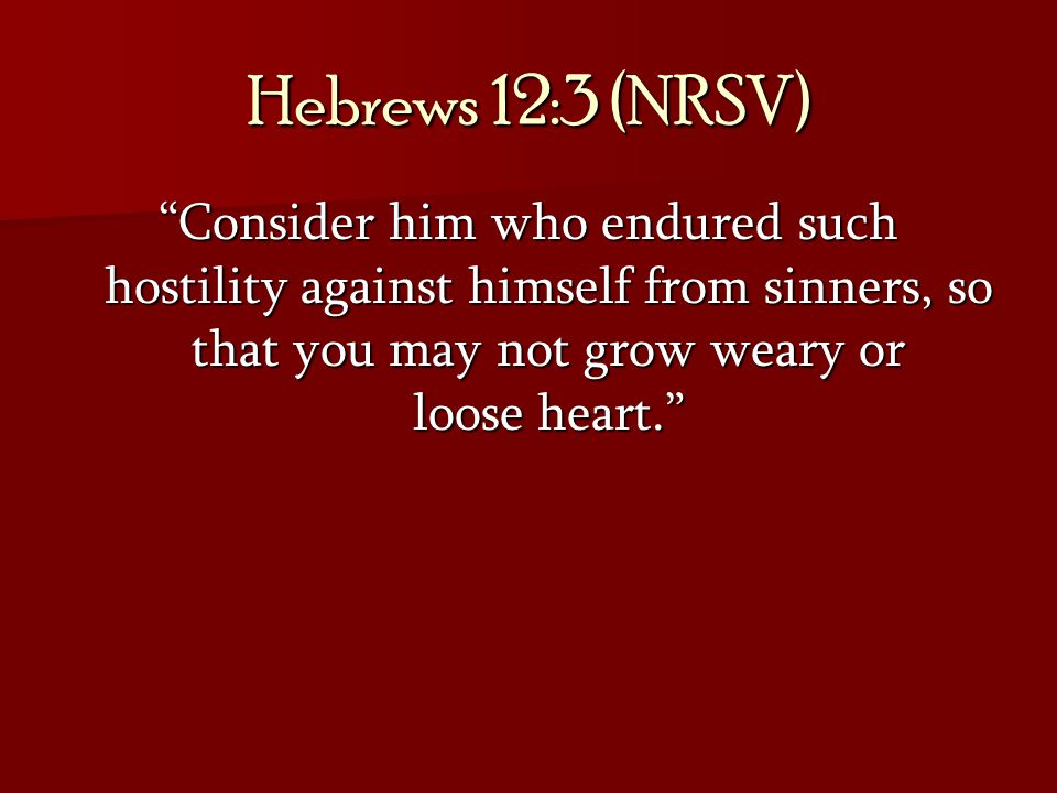 Hebrews 12:3 (NRSV) Consider him who endured such hostility against himself from sinners, so that you may not grow weary or loose heart.