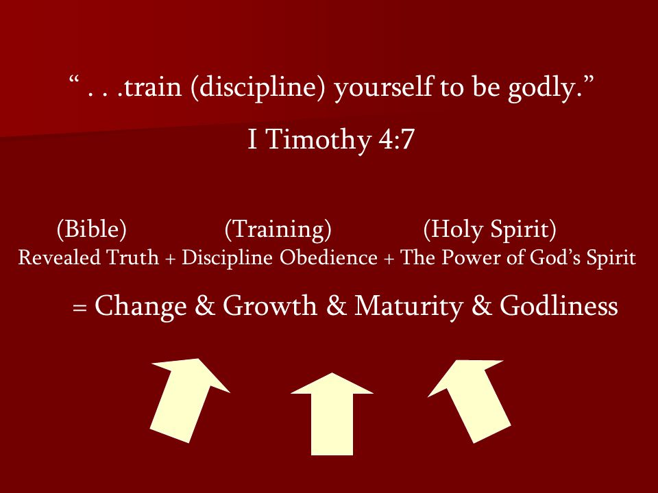. . .train (discipline) yourself to be godly. I Timothy 4:7