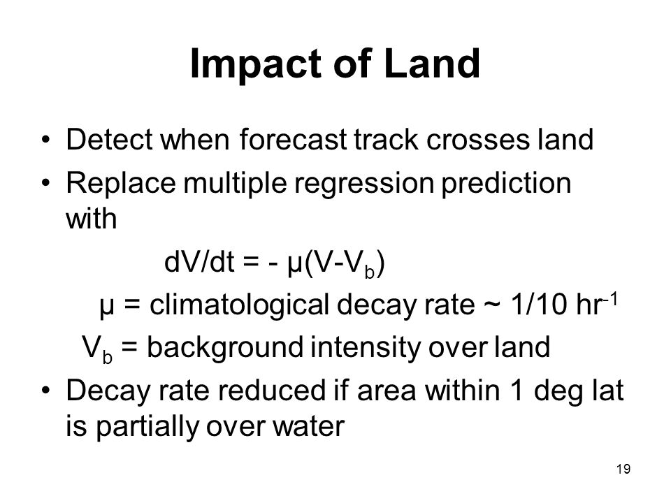 Impact of Land Detect when forecast track crosses land