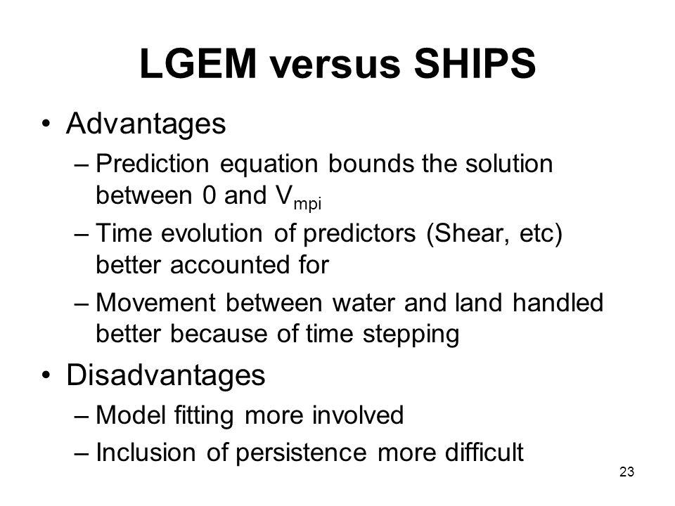 LGEM versus SHIPS Advantages Disadvantages