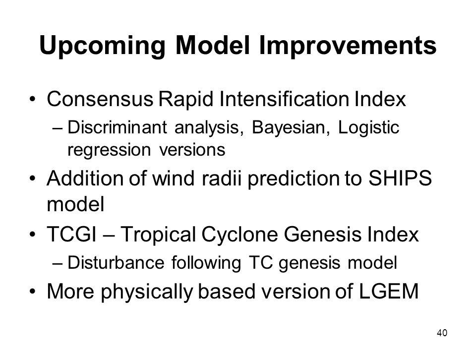 Upcoming Model Improvements