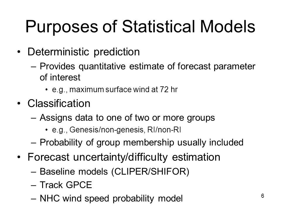 Purposes of Statistical Models