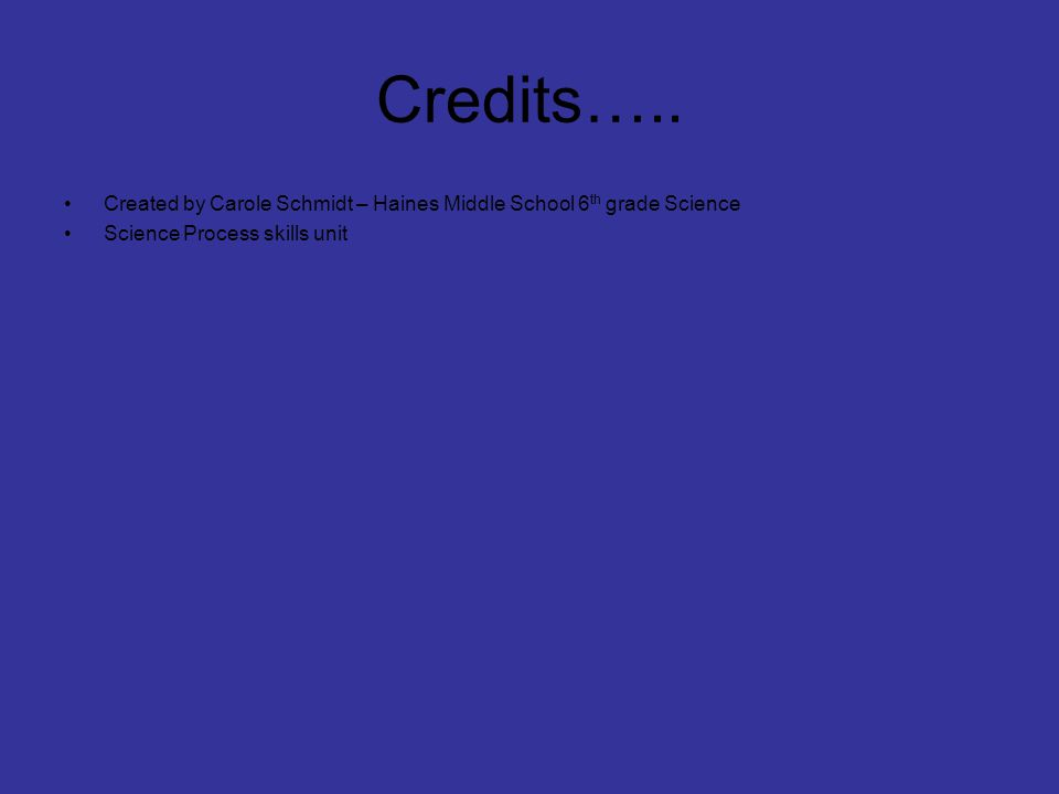 Credits….. Created by Carole Schmidt – Haines Middle School 6th grade Science.