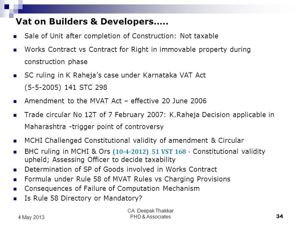 Vat on Builders & Developers…..