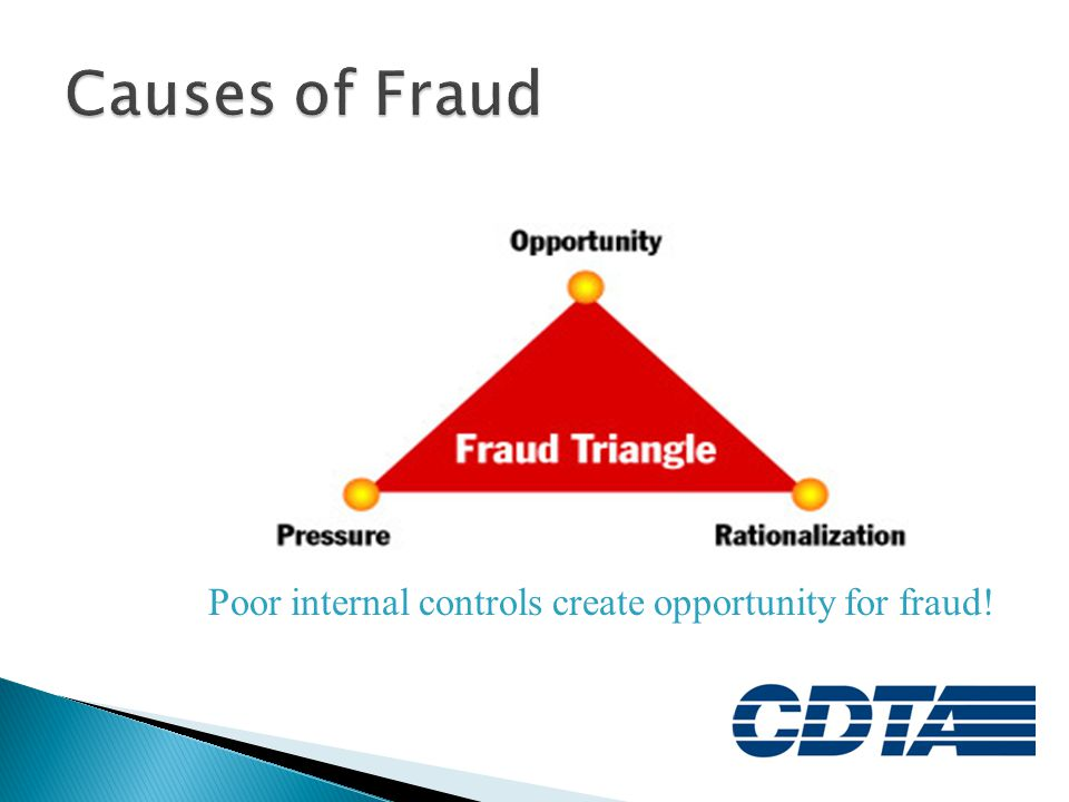 Poor internal controls create opportunity for fraud!
