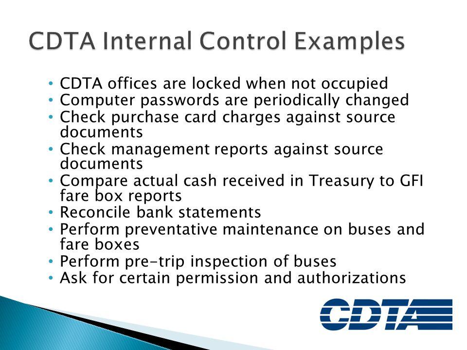 CDTA Internal Control Examples
