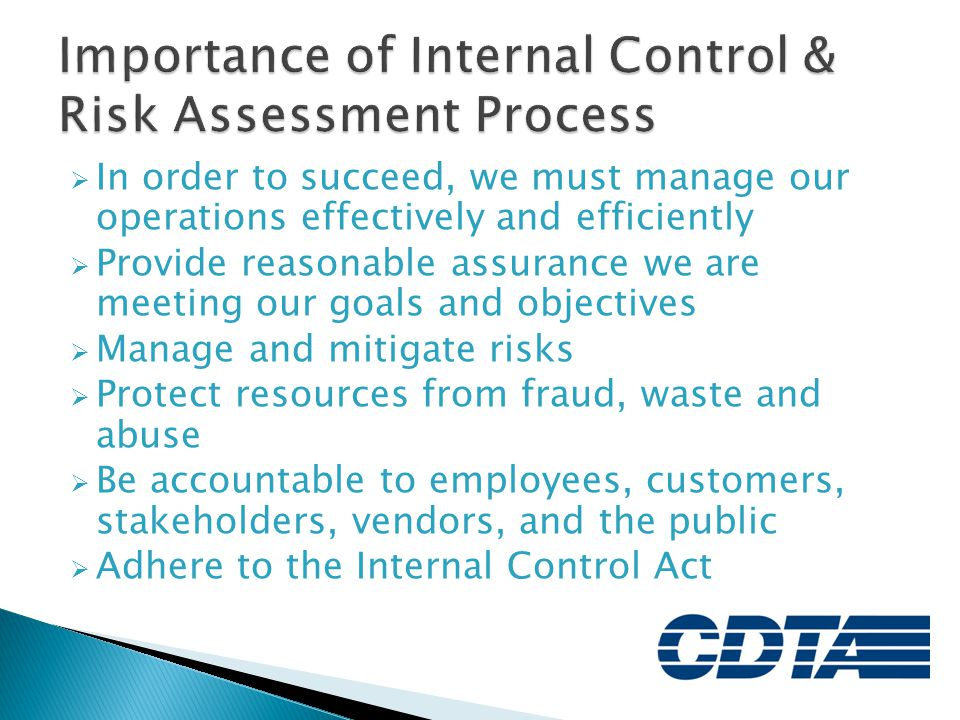 Importance of Internal Control & Risk Assessment Process