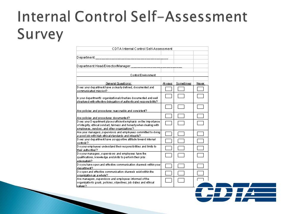 Internal Control Self-Assessment Survey