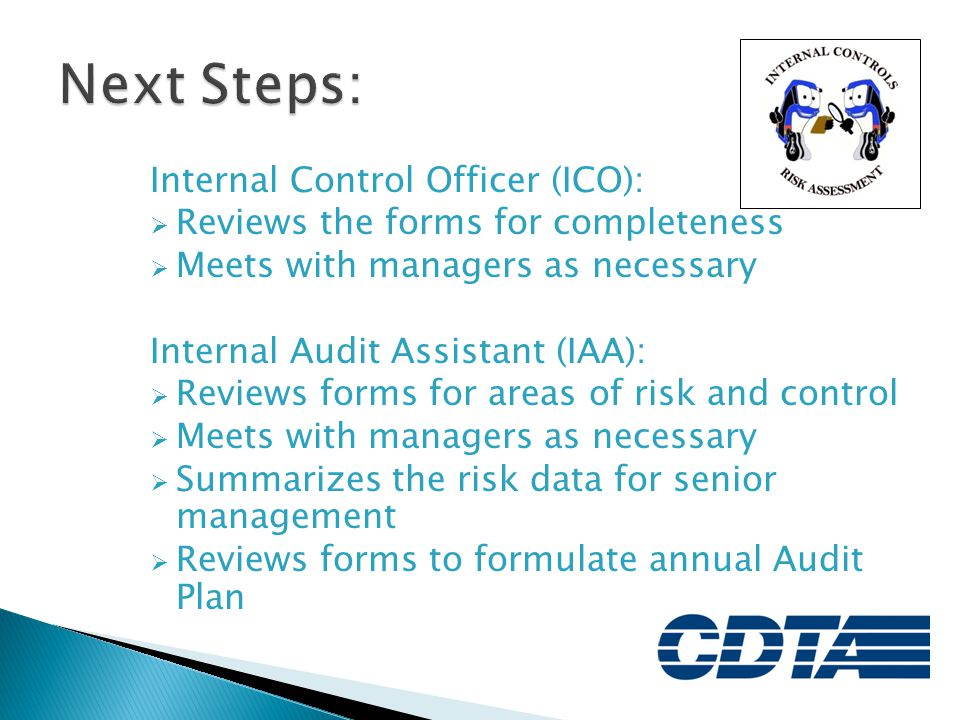 Next Steps: Internal Control Officer (ICO):