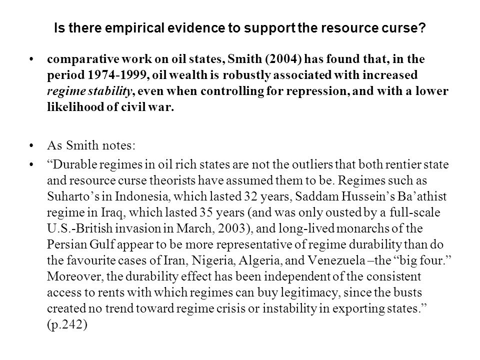 Is there empirical evidence to support the resource curse