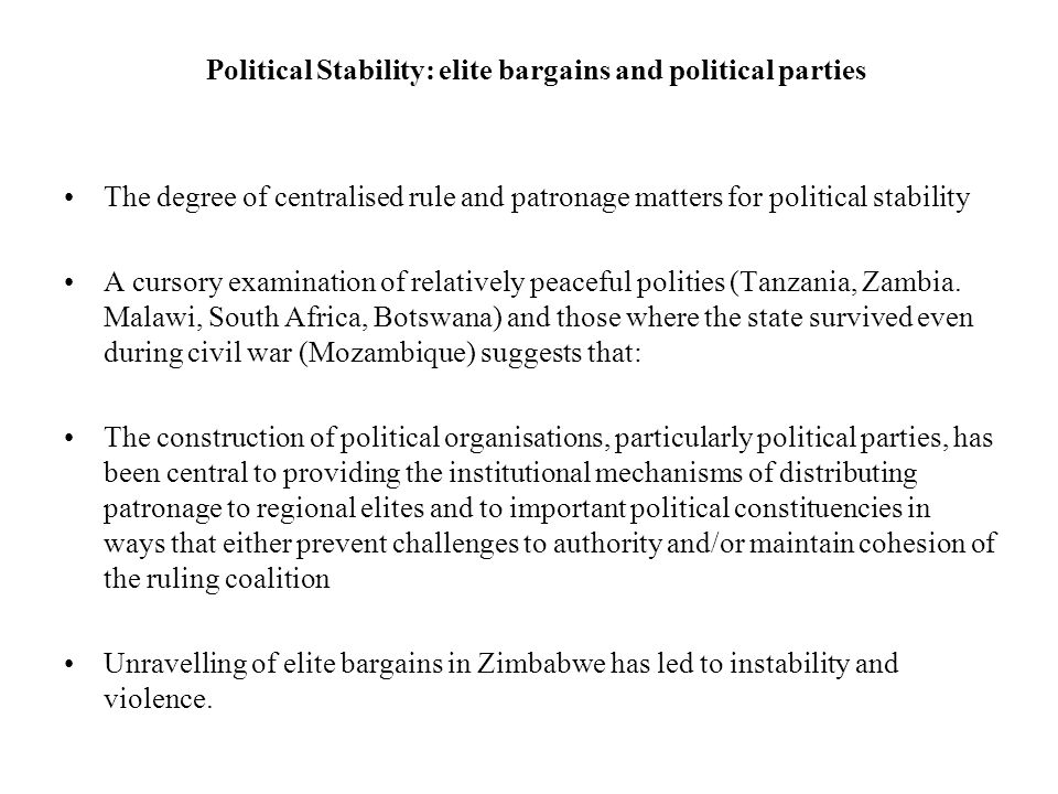 Political Stability: elite bargains and political parties
