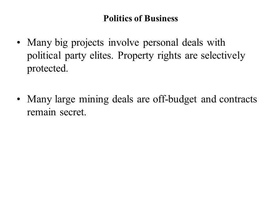 Many large mining deals are off-budget and contracts remain secret.