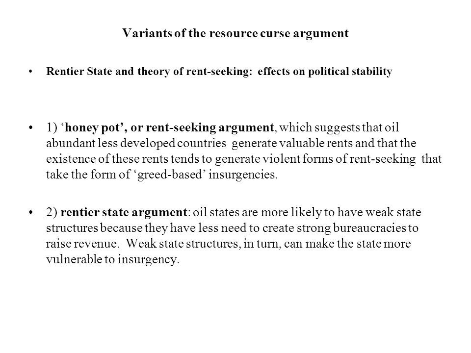 Variants of the resource curse argument