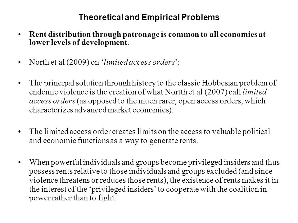 Theoretical and Empirical Problems
