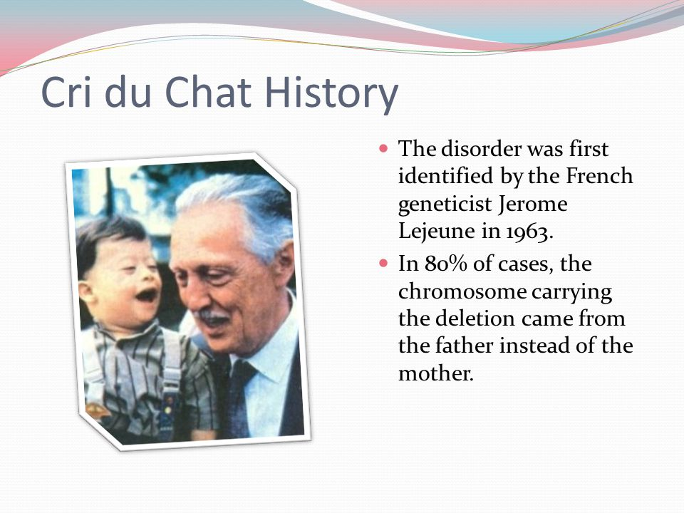 Cri du Chat History The disorder was first identified by the French geneticist Jerome Lejeune in 1963.