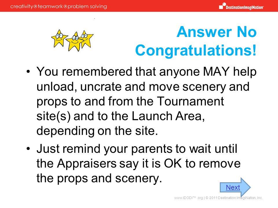 Answer No Congratulations!
