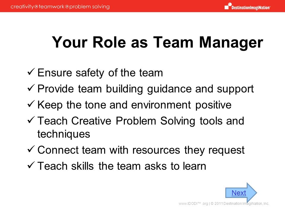 Your Role as Team Manager