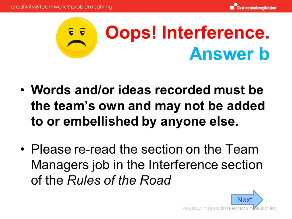 Oops! Interference. Answer b