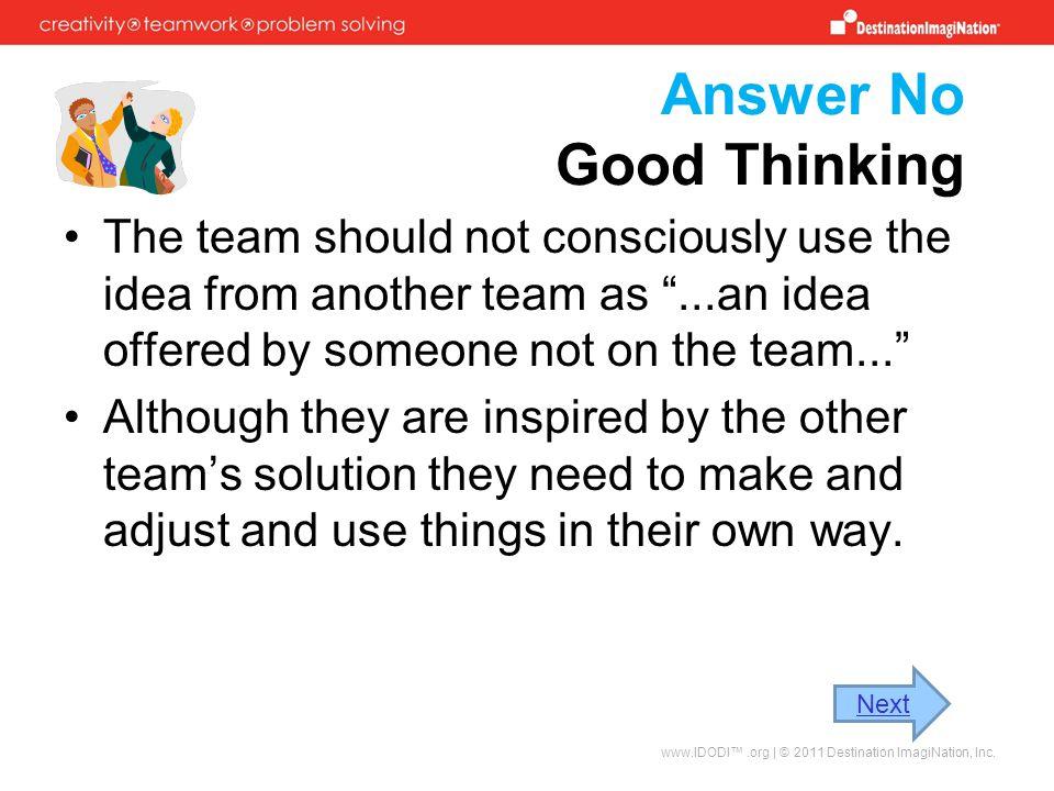 Answer No Good Thinking