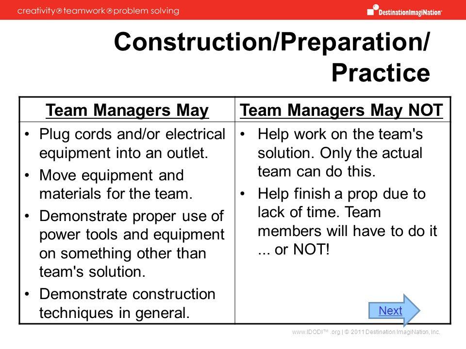 Construction/Preparation/ Practice