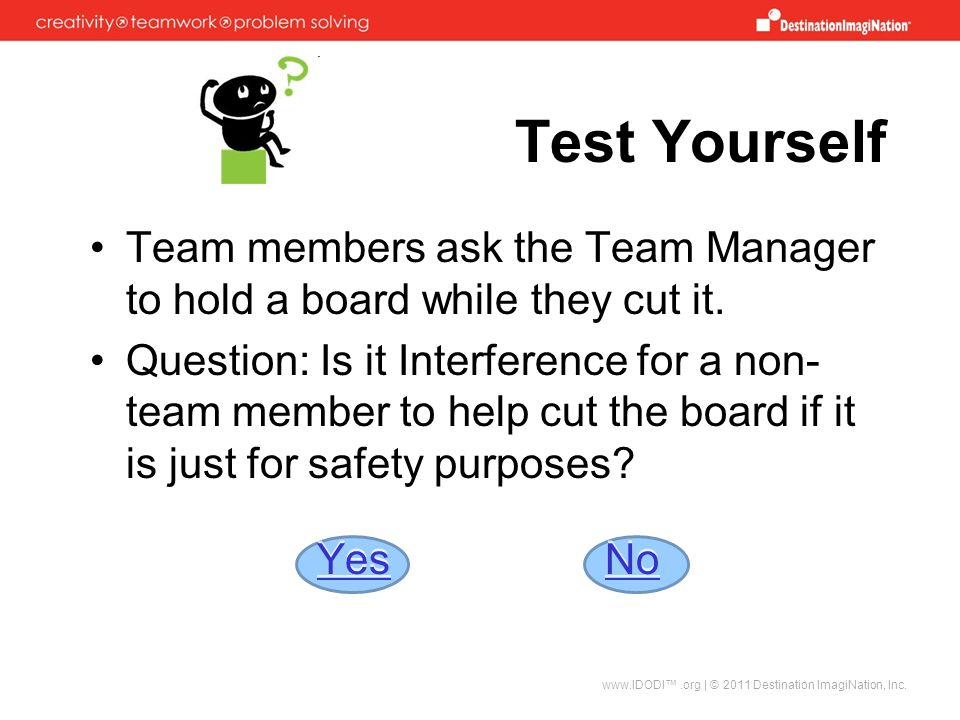 Test Yourself Team members ask the Team Manager to hold a board while they cut it.