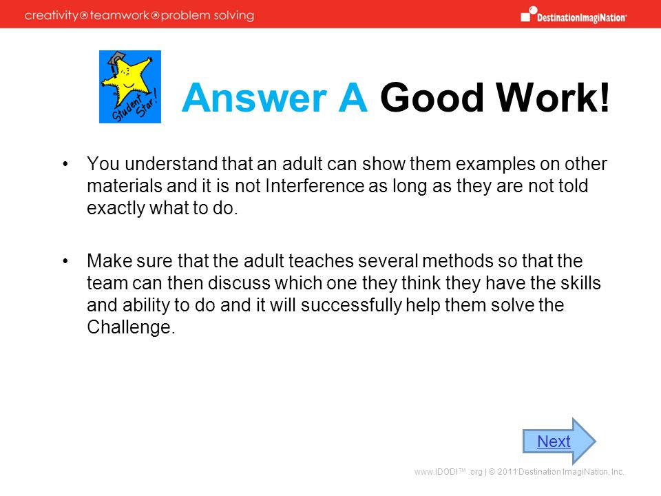 Answer A Good Work!