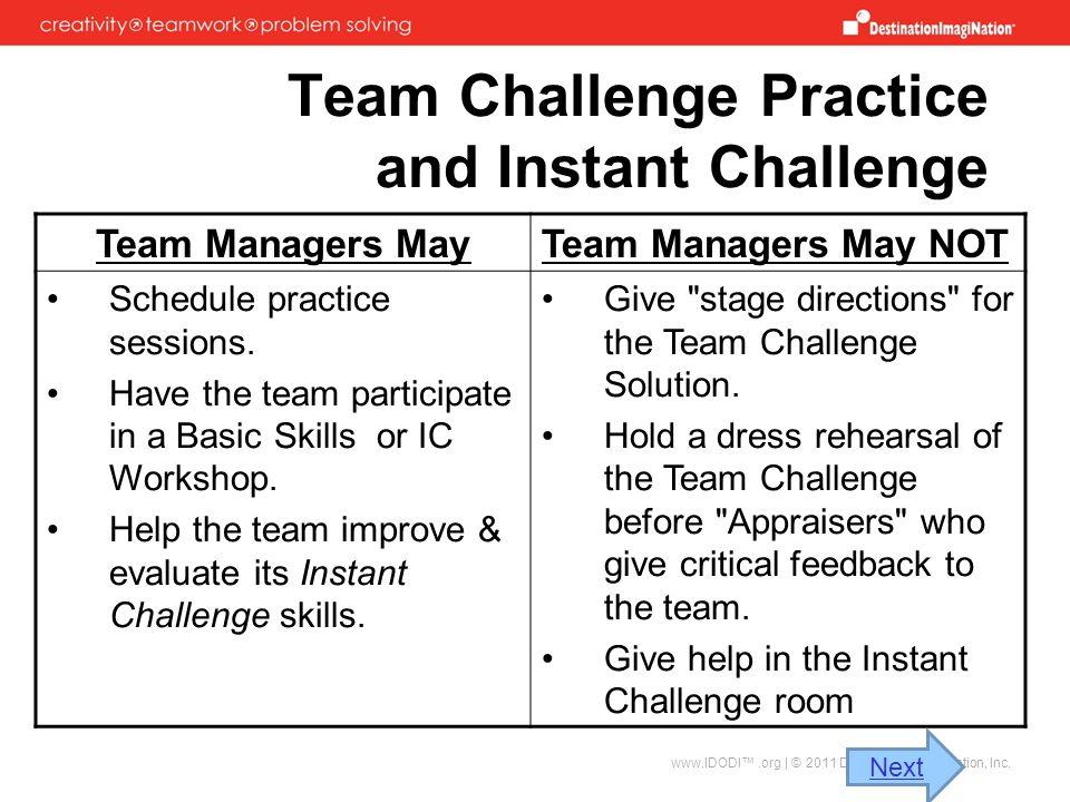 Team Challenge Practice and Instant Challenge