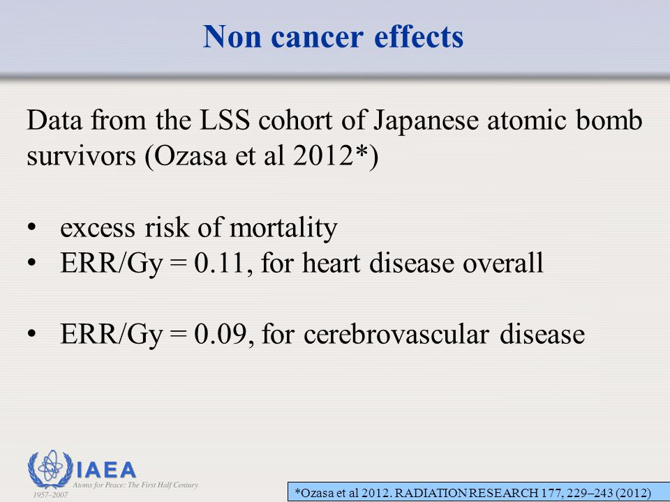 Non cancer effects Data from the LSS cohort of Japanese atomic bomb survivors (Ozasa et al 2012*) excess risk of mortality.