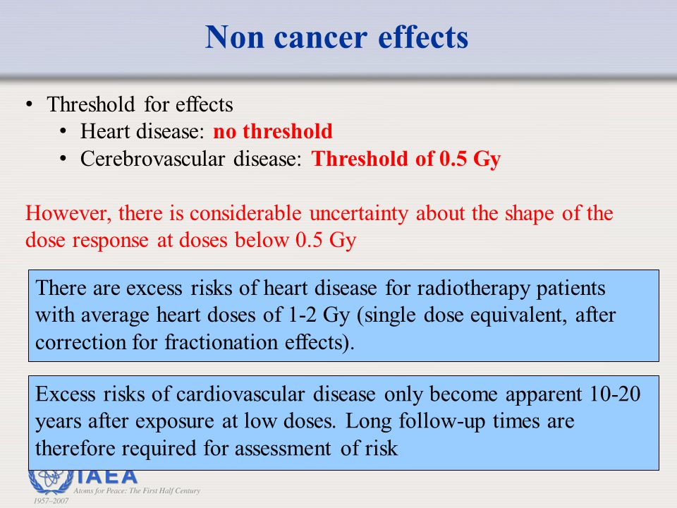 Non cancer effects Threshold for effects Heart disease: no threshold