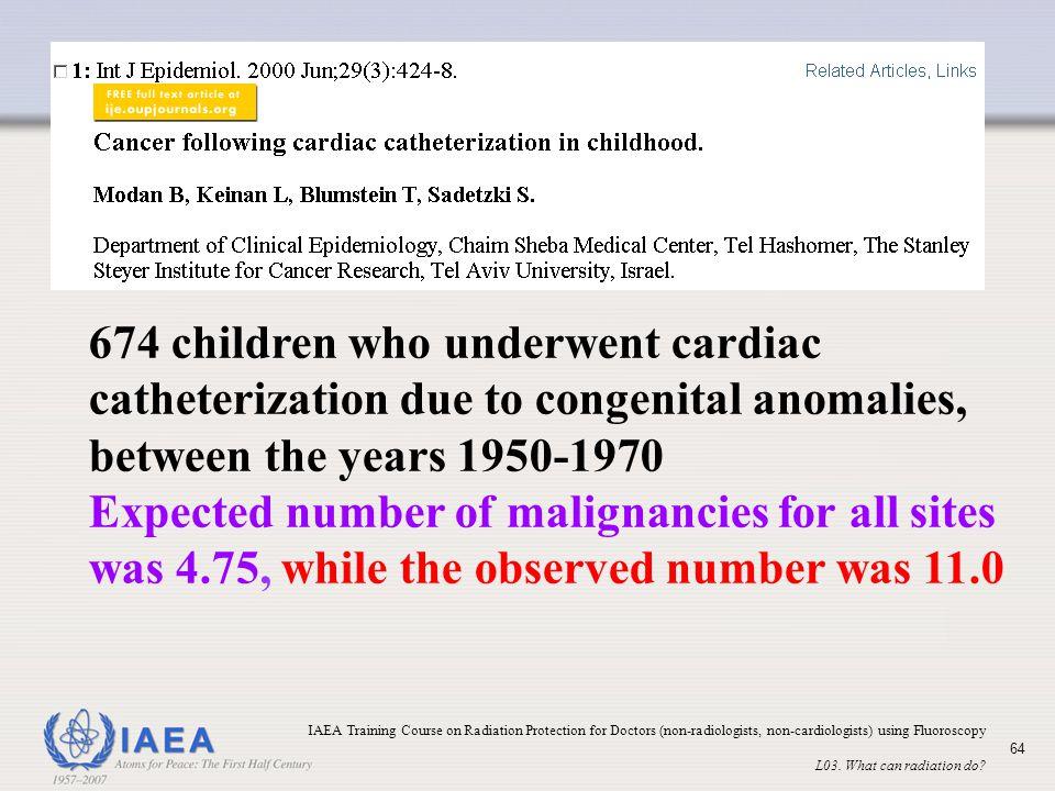 674 children who underwent cardiac catheterization due to congenital anomalies, between the years 1950-1970