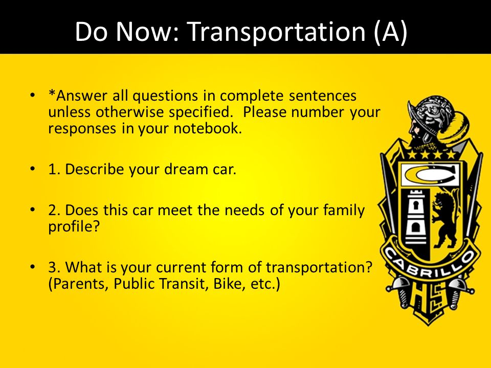 Do Now: Transportation (A)