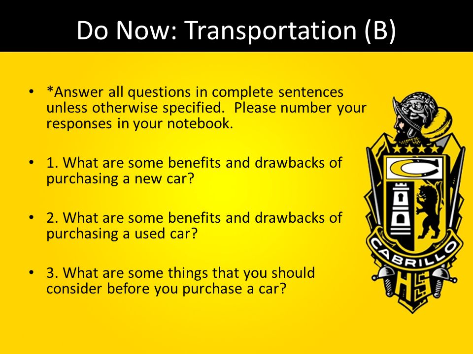 Do Now: Transportation (B)