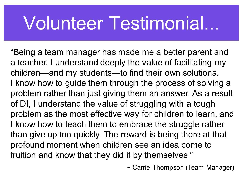 Volunteer Testimonial...